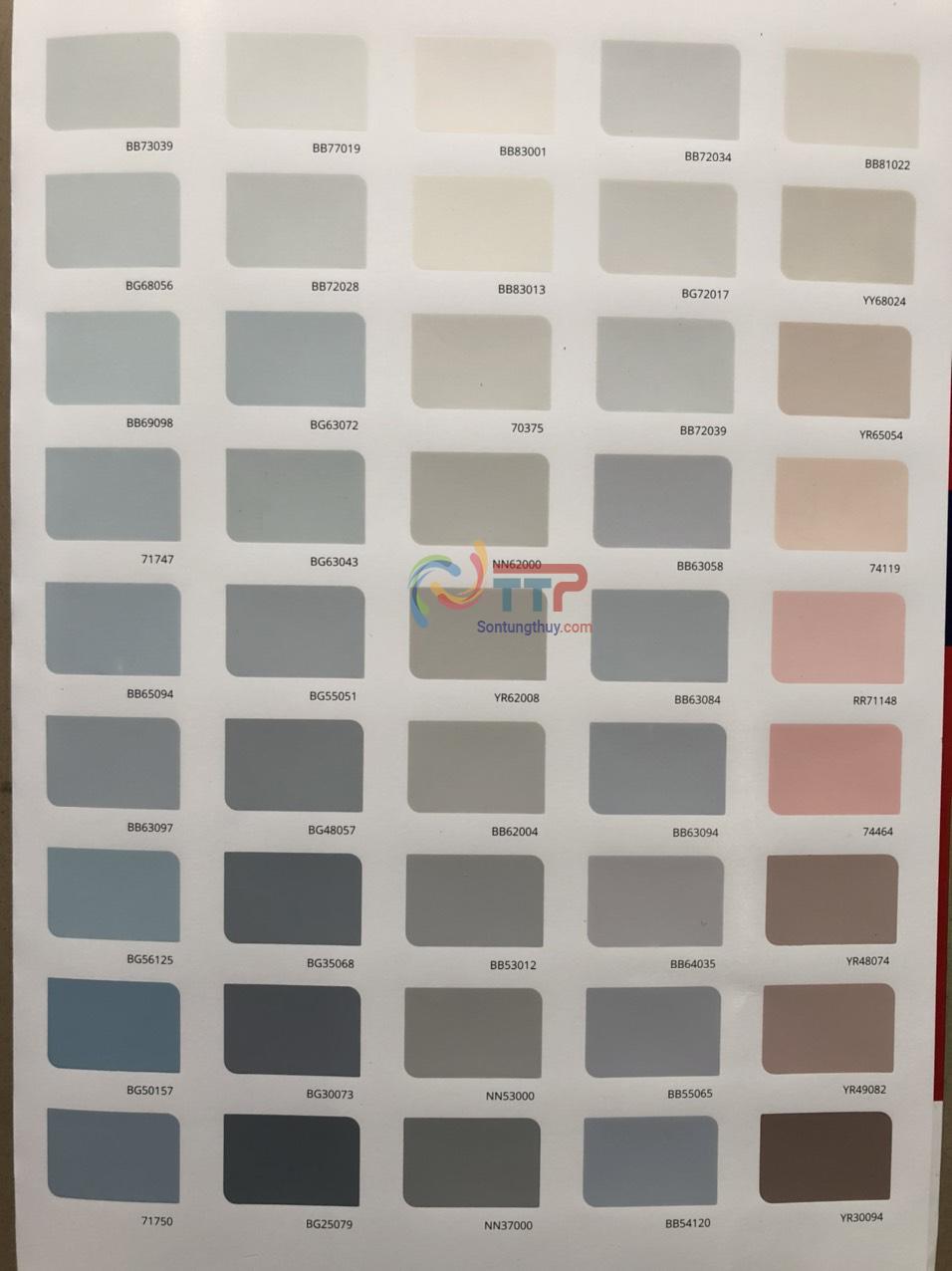 Bảng màu sơn maxilite trong nhà uy tín